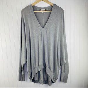 Anthropologie eri + ali grey lightweight sweater L